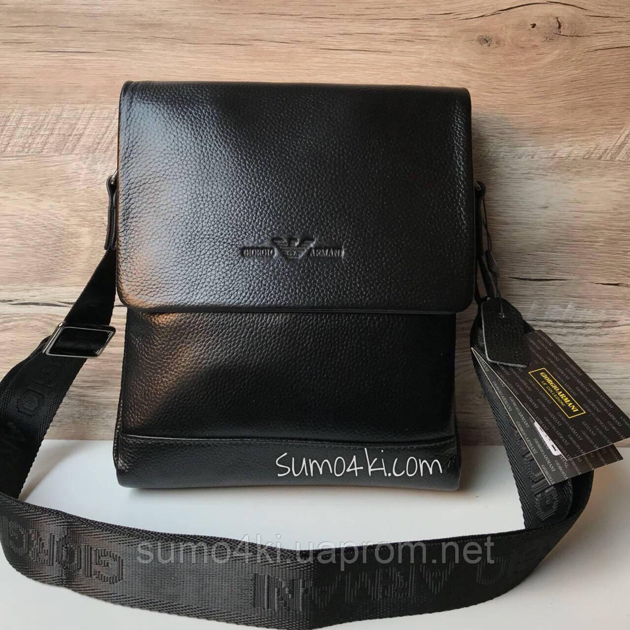 a4e9a3bcc586 Мужская кожаная сумка через плечо Armani Армани - Интернет-магазин «Галерея  Сумок» в