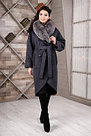 Зимнее черное пальто П-1089 н/м Unito Тон 23  Favoritti 44-52 размеры