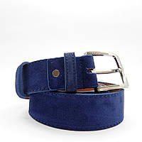 Мужской кожаный замшевый ремень синего цвета под джинсы KKE-872512