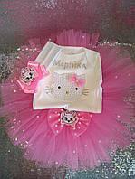 Юбка-пачка, бодик Китти с именем ,повязка в розовом.