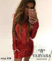 Платье нарядное ткань- паетка,  цвет- чёрный, красный, серебро, золото вар №128350