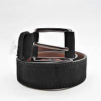 Мужской кожаный замшевый ремень черного цвета под джинсы KKE-872553