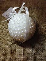 Новогодний шар ручной работы жемчужный 9