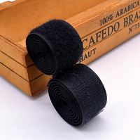 Лента-липучка, 2,5 см, цвет черный, 50 см