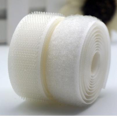 Лента-липучка, 3 см, цвет белый, 50 см