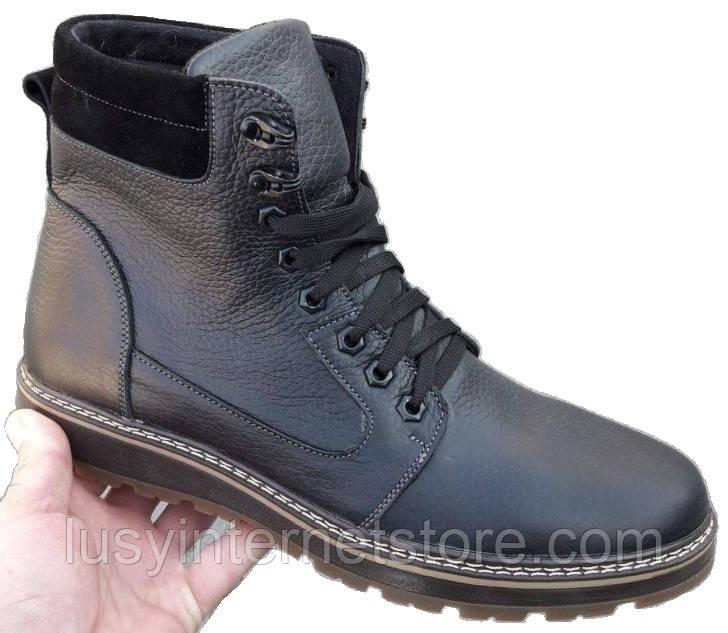 Мужские ботинки зимние кожаные на шнурках от производителя АН15