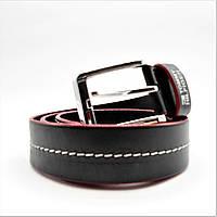 Мужской кожаный ремень ТН черного цвета под джинсы KKE-000880, фото 1