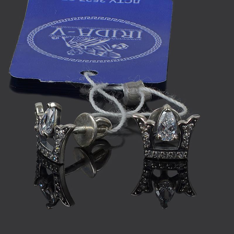 Серебряные серьги-гвоздики Коронка