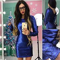 Красивое платье из паеток на подкладе с вырезом на спинке в расцветках АМС-1712.094(2), фото 1