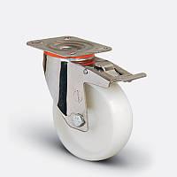 Нержавеющее поворотное с тормозом колесо диаметром 80 мм из полиамида нагрузка 120 кг