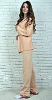 Женский вязаный костюм Коттон с кардиганом песочный