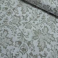 Ткань декоративная с пропиткой с бежевым вензелем и цветочным орнаментом, ширина 150 см