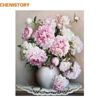 Живопись по номерам 40*50 пионы в вазе цветы, розовые рисование