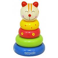 """Детская  деревянная  пирамида """"Котик""""BABY MIX"""