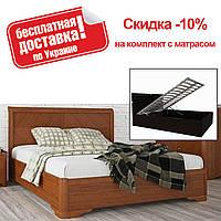 Кровать полуторная Милена с интарсией подъемный механизм 140 Олимп