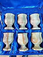 Рюмки из оникса из 6 штук тюльпан (7х4,5 см)