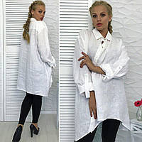 Женская рубашка из натурального льна большого размера