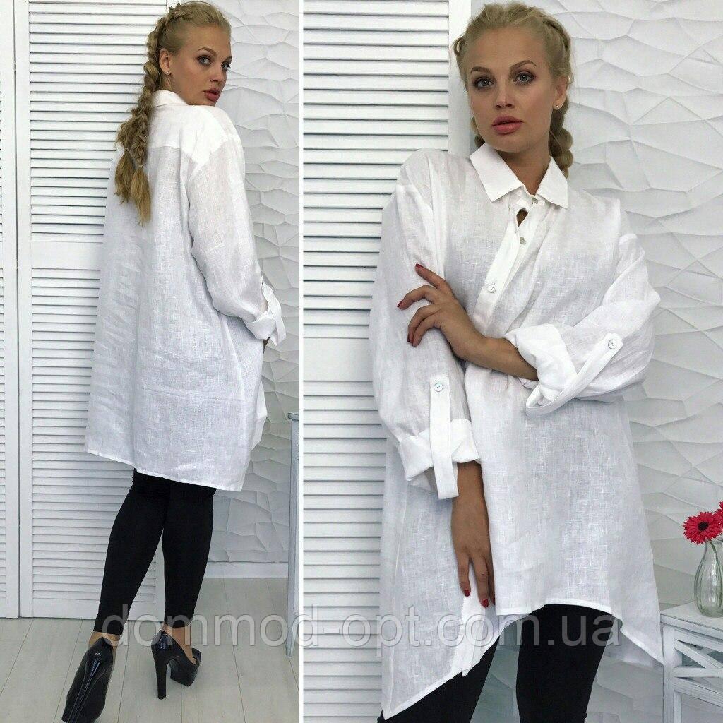 a869b908eb7c Женская рубашка из натурального льна большого размера