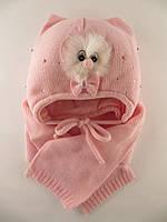 Шапка зимняя с шарфом для девочки Ambra