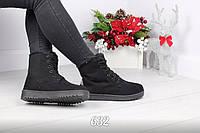 Ботиночки женские черные на шнурках эко-замш искусственный мех