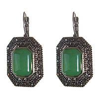 [25 мм] Серьги женские с камнем из нефрита винтажные в оправе под капельное серебро Код:368132222