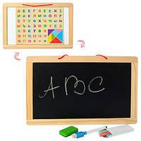 Деревянная игрушка Досточка MD 1147 (72шт) двухст(магн/рис),цифры,буквы,мел, маркер,в куль,33-22-1см