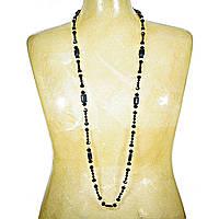 """Бусы """"чешское стекло"""" чёрные бусины,белый жемчуг и прямоугольный шунгит 15мм, длина 130см Код:574782190"""