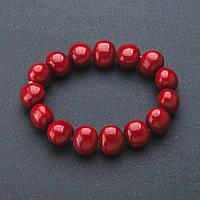 "Браслет "" жемчуг Майорка "" цвет бордо на резинке 12*14мм Код:574783017"