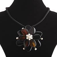 """Колье  Сердолик  """"Цветок с жемчужной сердцевиной"""" на каучуковом шнуре Код:574791783"""