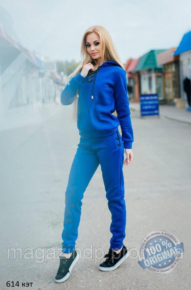 Спортивный теплый костюм на шнуровке 614 кэт Код:609424400