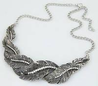 Ожерелье колье античное серебро Перья