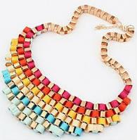 Красивое ожерелье-колье воротник Радуга, разноцветное