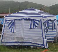 Шатёр мульти бело-синий 3х3 м, Тент разборный  Маскитка + стенки