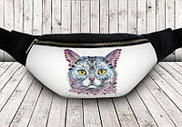 Сумка на пояс цветной кот