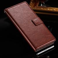 Кожаный чехол-книжка для Sony Xperia Z3 D6603 коричневый