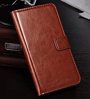 Кожаный чехол-книжка для Nokia Lumia 625 коричневый