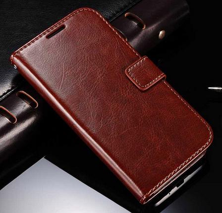 Кожаный чехол книжка для Samsung Galaxy S4 mini i9190 коричневый, фото 2