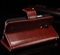Кожаный чехол книжка для Samsung Galaxy S4 mini i9190 коричневый, фото 3