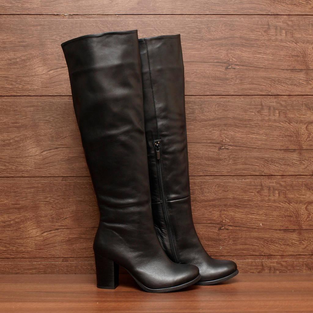 Сапоги женские зимние кожаные на высоком толстом каблуке чёрные размер 37