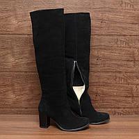Женские сапоги (7083.1) 37, 39 - зимние замшевые черные на высоком каблуке