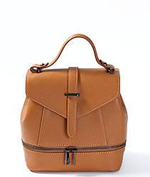 Сумка-рюкзак трансформер рыжего цвета (рюкзак коричневого цвета) Massimiliano Incas из натуральной кожи