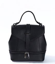 Сумка-рюкзак трансформер черного цвета Massimiliano Incas из натуральной кожи