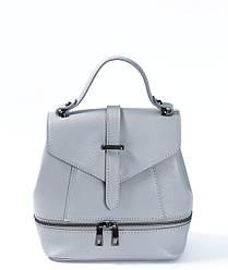 Сумка-рюкзак трансформер серого цвета Massimiliano Incas из натуральной кожи