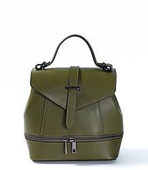 Сумка-рюкзак трансформер цвета хаки (рюкзак зеленого цвета) Massimiliano Incas из натуральной кожи