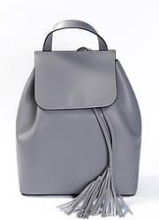 Рюкзак серого цвета Massimiliano Incas из натуральной гладкой кожи с кожаными кисточками