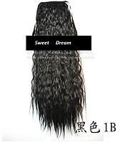 Шиньон, конский хвост, кудрявый, афро-кудряшки, длина - 60 см, цвет 1В