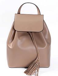 Рюкзак бежевого цвета (рюкзак цвета мокко) Massimiliano Incas из натуральной кожи с кожаными кисточками
