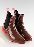 03-22 Бордовые женские резиновые сапоги с прозрачным каблуком PT28 38,40