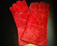 Кожаные перчатки (краги) с подкладкой