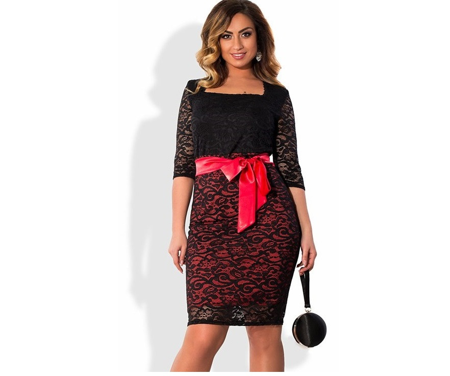 Кружевное платье с красным поясом размеры от 48 ПБ-116